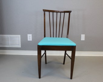 Vintage Hardwood Chair w/Teal Cushioned Seat