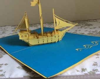 3D Yellow Ship Pop-Up Card Deluxe