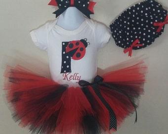 Lady Bug Birthday Tutu Set w/ hair bow & diaper cover option