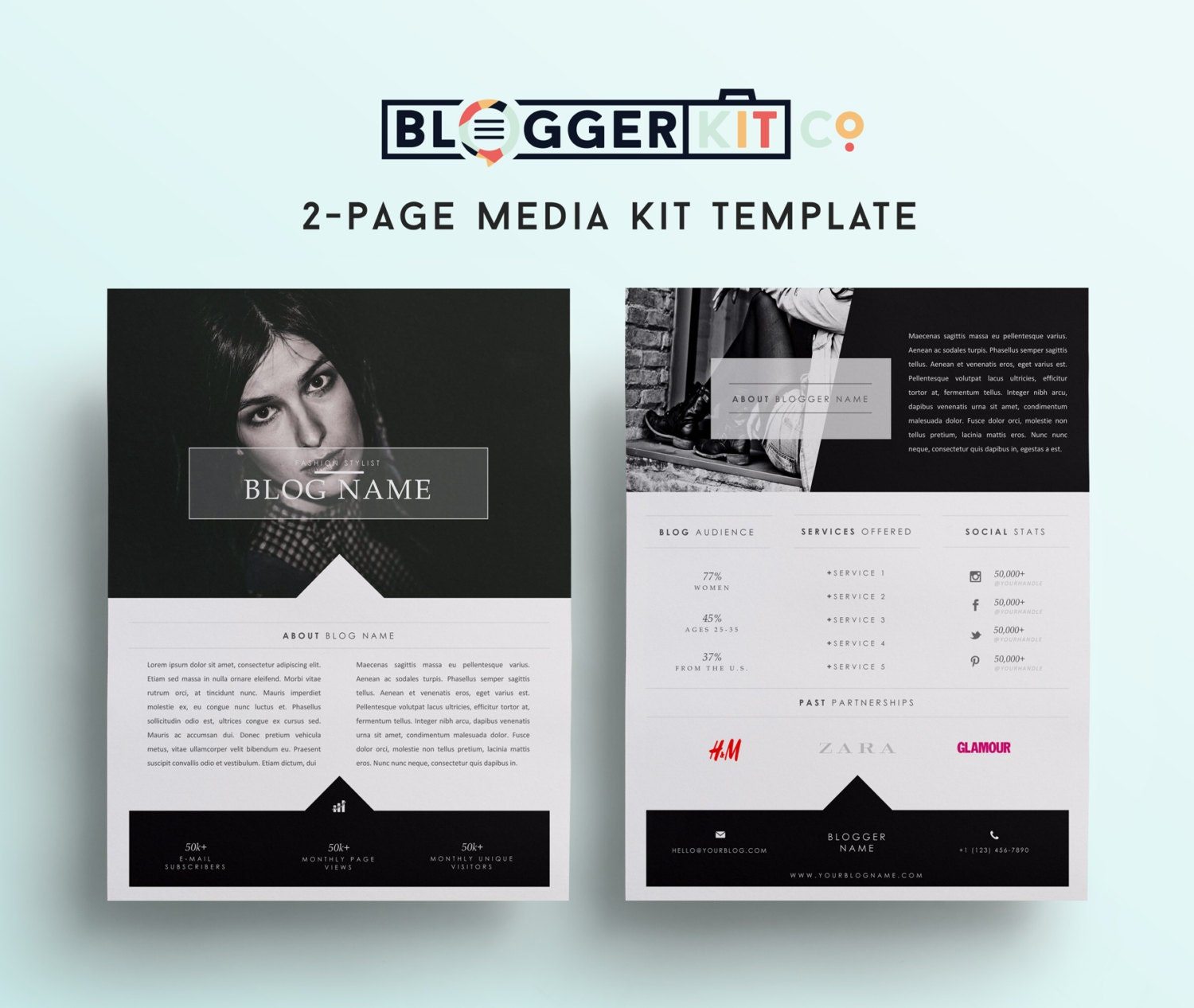 Two page media kit template press kit template by bloggerkitco for Press pack template