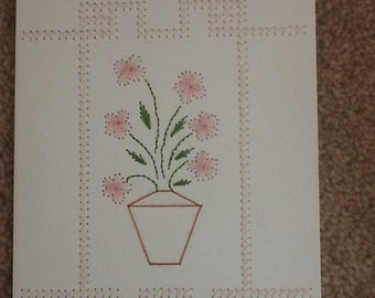 Hand stitched flower vase card