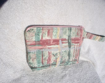 Rust and Green Zippered Pouch