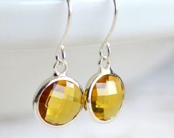Yellow Crystal bridesmaid earrings Simple Bridesmaid jewelry Yellow Wedding jewelry earrings Yellow wedding jewelry Bridesmaid gift