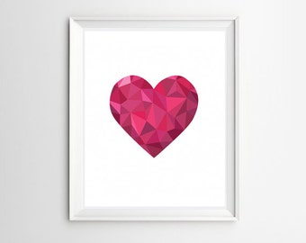 Polygonal Heart Printable Wall Art Poly Art Poster Geometric Pink Heart Girl Nursery Room Decor Valentine Gift Idea Instant Digital Download