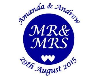 35 Personalised Wedding stickers Pink Heart (F233) Custom Printed Envelope seals Wedding favours