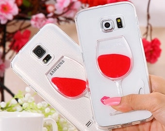 Samsung Galaxy S5 Flowing Liquid Wine Glass Transparent Clear HARD Shell Case, Cell Phone Case FREE SHIPPING