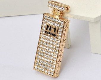 Crystal Bling Lg. Perfume Bottle Rhinestone Flatback Alloy Cabochon Decoden, DIY Phone Case, Charm, Kawaii TDK-B1071