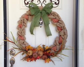 Fall Pumpkin Burlap Wreath