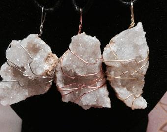 Hand Wrapped Quartz Geodes/Druzy Amulet MWCHWQG001