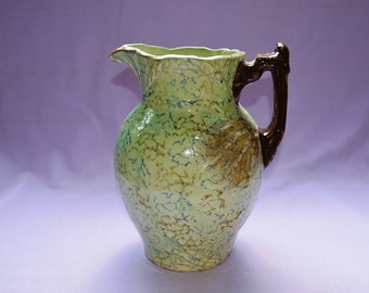 """Large 11""""  Pitcher in Green with Branch Handle"""