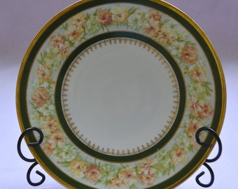 Jean Pouyat Limoges Plate Green And Gold