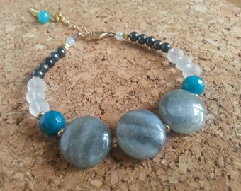 Strap stacking stones and glass/Labradorite/Jade/Quartz/charm pen/Turquoise/Gray/White/Stacking Feather-Gemstone-bracelet charm