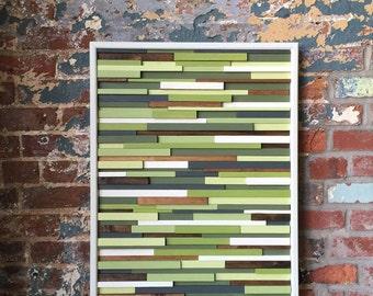 Modern Wood Wall Art- Greens, Grays, Browns