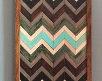 Wood Wall Art- Reclaimed Wood Wall Art- Chevron Wood Wall Art- Wall Decor