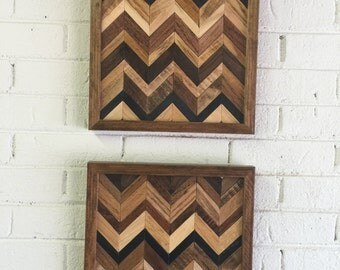 Wood Wall Art-Set of Two- Chevron Wood Wall Art