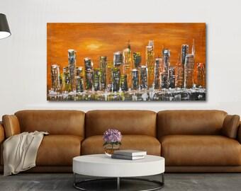 Urban sunset-ORIGINAL Modern Art Abstract Painting ,contemporary art