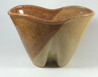Stoneware, Two-tone Altered Vase, Caramel and Cream Glazes