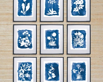 Series of 9 Cyanotype Inspired Watercolor Prints - SMc. Originals, watercolor painting, rustic, modern, original artwork, nature, decor