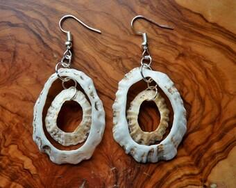 Natural shell earrings, big seashell earrings, white shell earrings, handmade Irish earrings