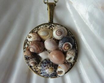 Irish seashell necklace, tiny seashells pendant, mosaic pendant, sand and shells necklace, handmade Irish necklace