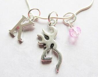 Buckmark Necklace, Buckmark Charm, Silver Buckmark, Pendant, Initial Charm, Birthstone, Personalized, Hunter, Hunting, Deer, Antlers, Gift