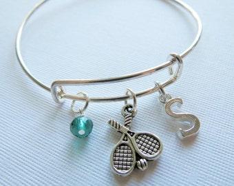 Tennis Charm Bracelet, Tennis Expandable Bangle, Pendant, Initial Charm, Birthstone, Personalized, Team Gift, Tennis Gift, Tennis Team