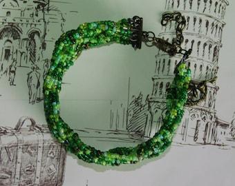 Beadwork bracelet Green