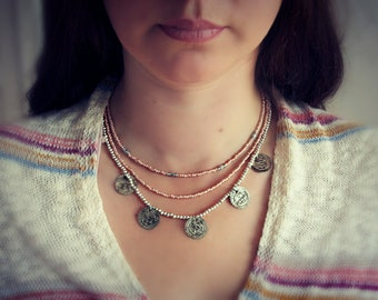 coins necklace ethnic tribal gipsy nomad hippie bohemian