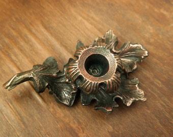 SALE! Vintage metal candle holder Table decor Antique candelabra Mantel shelf decor / fireplace decor / rustic home decor / cast iron /brown