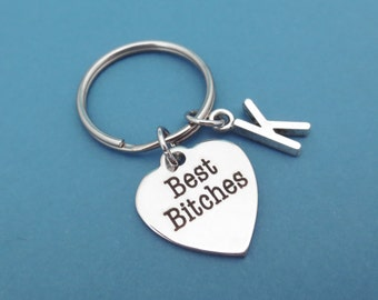 Personalized, Letter, Initial, Best Bitches, Keyring, Keychain, Friendship, Best friends, Birthday, Gift, Jewelry