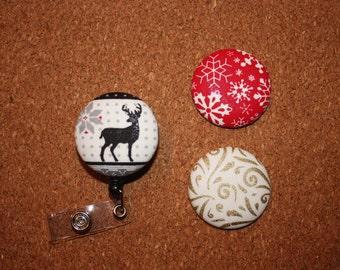 Christmas Button Badge Reel Set - Interchangeable