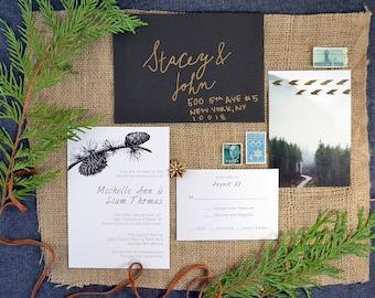 Halstead suite, printable pinecone wedding invitation. Includes wedding invite and rsvp card.