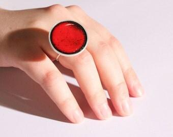 Statement enamel ring - Red