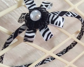 Girls zebra print headband