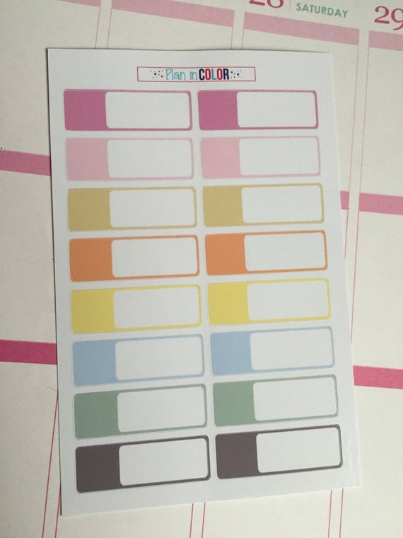 16 Appointment Box Stickers - Pastel Colors - Erin Condren - Life Planner