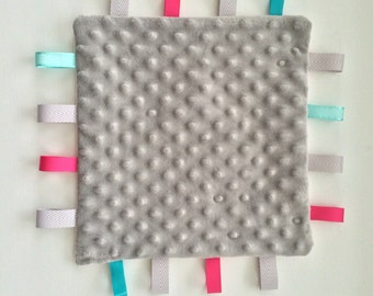 Grey and Pink Taggie Blankie