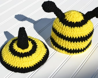 Baby Boy Crochet Bumble Bee Hat and Tushie Cover Set/ Photo Prop