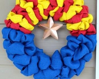 Arizona State Flag Burlap Wreath, AZ Indoor/Outdoor Wreath, State Pride Wreath, Arizona Wreath, Arizona Decor, 15 - 16 Inches.*IN STOCK!*