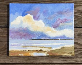 Colorful sky. 8x10 original acrylic painting, beach scene