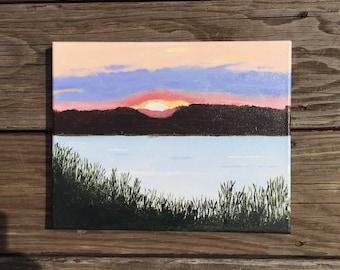 Newport sunset. 8x10 original acrylic painting