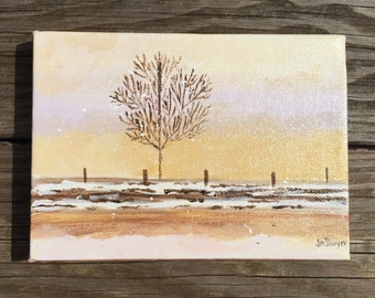Lone Winter Tree. 5x7 original acrylic painting