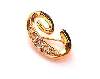 Avon Monogram Gold Tone and Rhinestone Letter C Brooch - Pin - Vintage - Glam Costume Jewelry - Mad Men