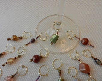 Beaded Wine Glass Charms - Golden earth tones (set of 4)