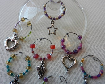 Sterling silver beaded wine glass charms (set of 4)