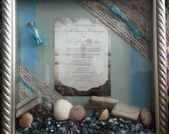 Beach Themed Wedding Invitation Shadowbox Keepsake, made to order