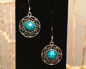 Turquoise celtic circle earrings