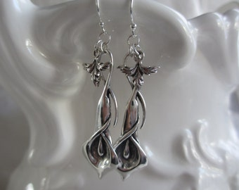 Sterling Silver Calla Lily and Leaf Dangle Earrings