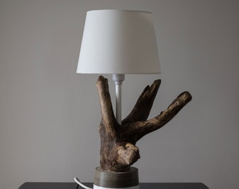 "Light Driftwood / Base concrete / Driftwood lamp / Concrete / ""La Douce"""