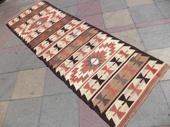 "OLD VINTAGE Turkish Flatweave Wool Kilim Runner Rug, 35"" X 106,3"""