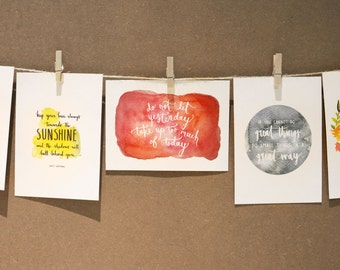 INSPIRATIONAL QUOTES - Watercolour/Typography Postcards